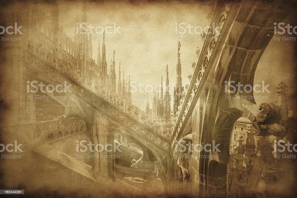 Vintage photo of Duomo in Milan royalty-free stock photo