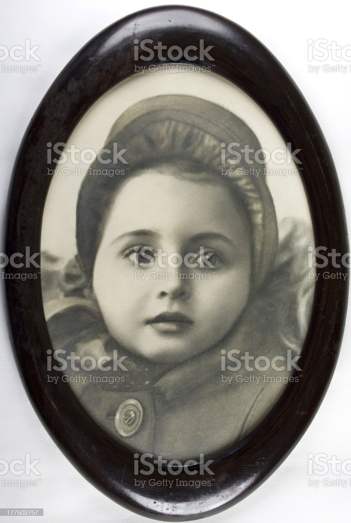 Vintage photo of girl in hat royalty-free stock photo