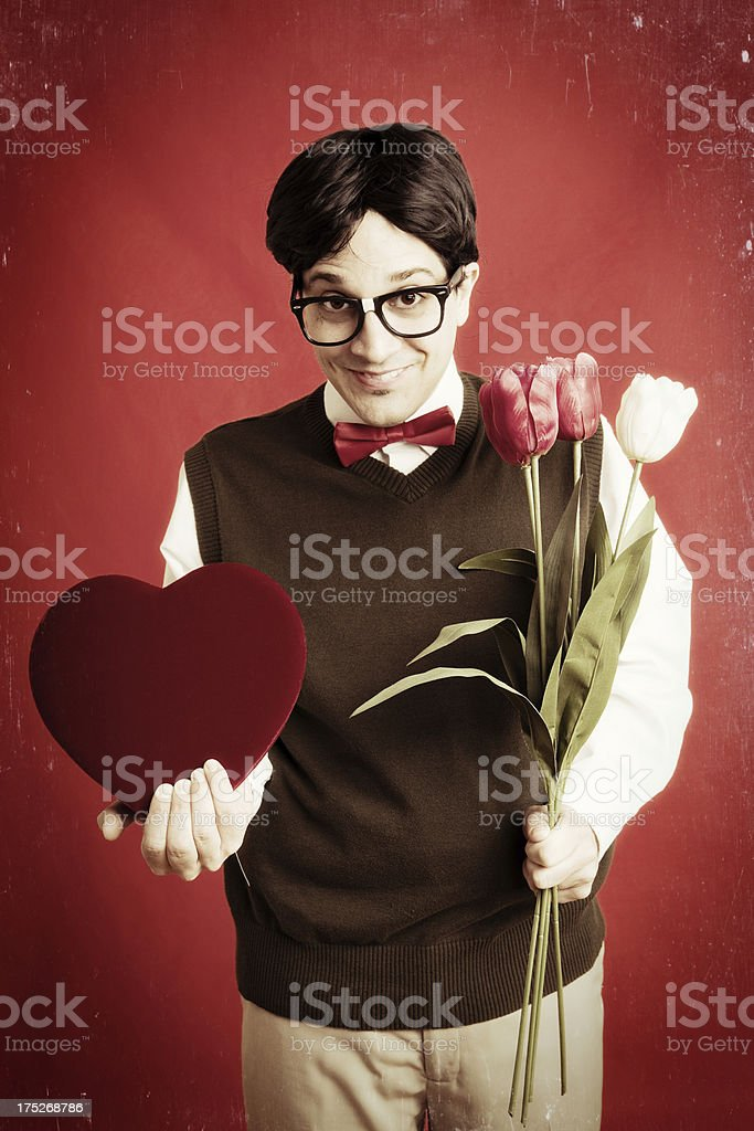 Vintage Photo of Nerd Holding Flowers and Valentine royalty-free stock photo