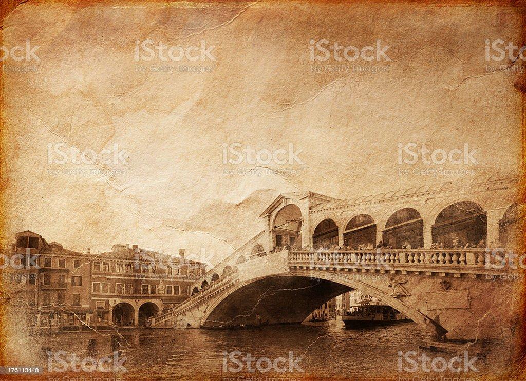 Vintage photo of Rialto Bridge royalty-free stock photo