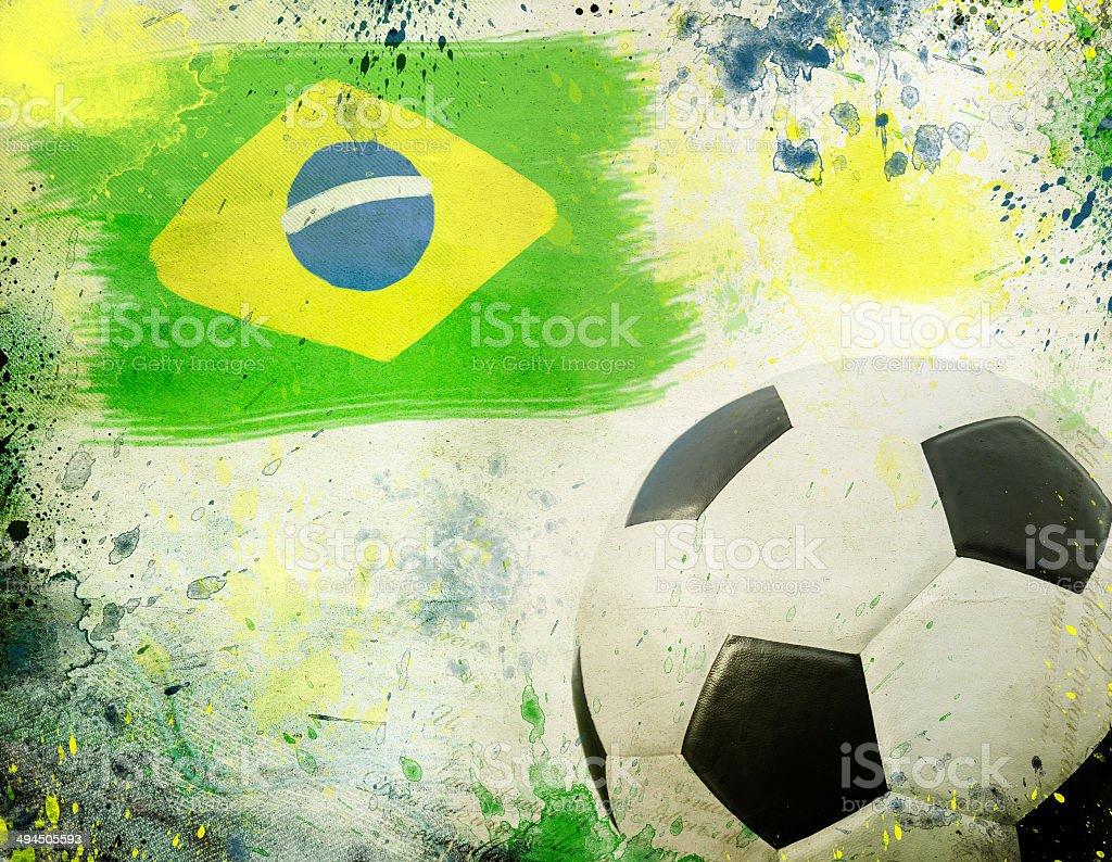 Vintage photo of soccer ball  Brazil 2014 royalty-free stock photo
