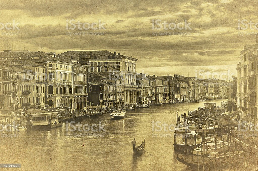 vintage photo of the Grand Canal in Venice royalty-free stock photo