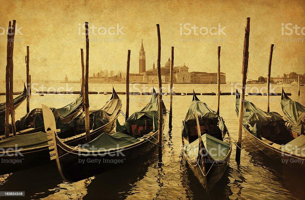 Vintage photo of the venetian lagoon royalty-free stock photo