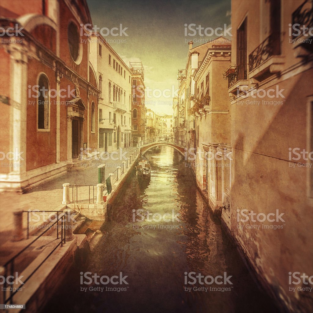 Vintage photo of  venetian canal royalty-free stock photo