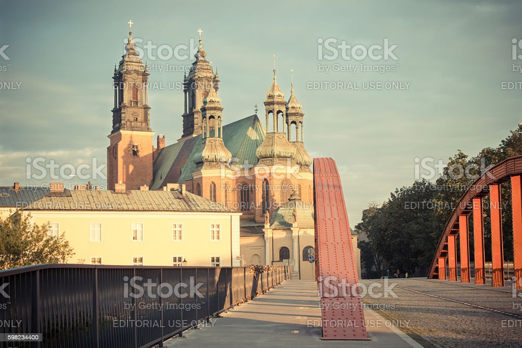Vintage photo, Old bridge and cathedral church in town Poznan stock photo