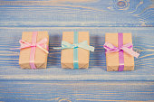 Vintage photo, Wrapped gifts with colorful ribbons for Christmas