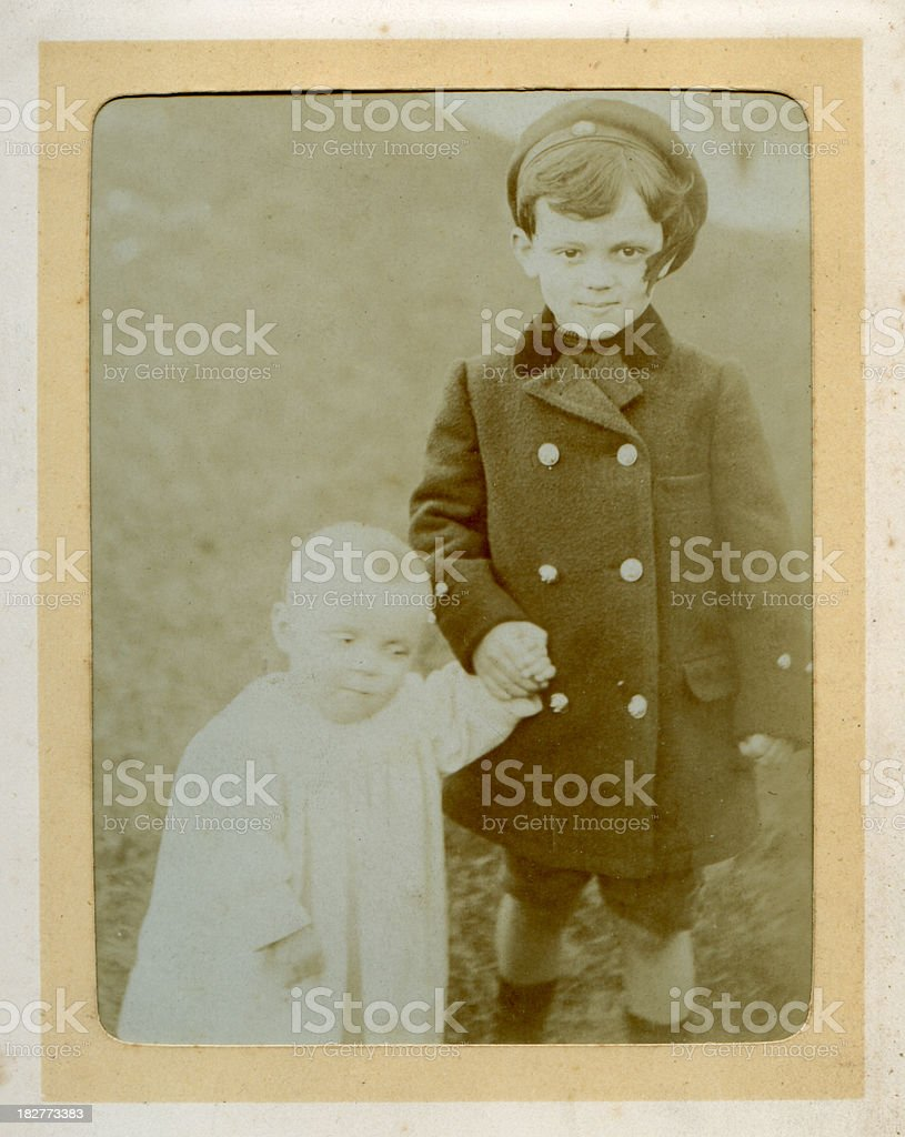 Vintage photograph Edwardian brothers royalty-free stock photo