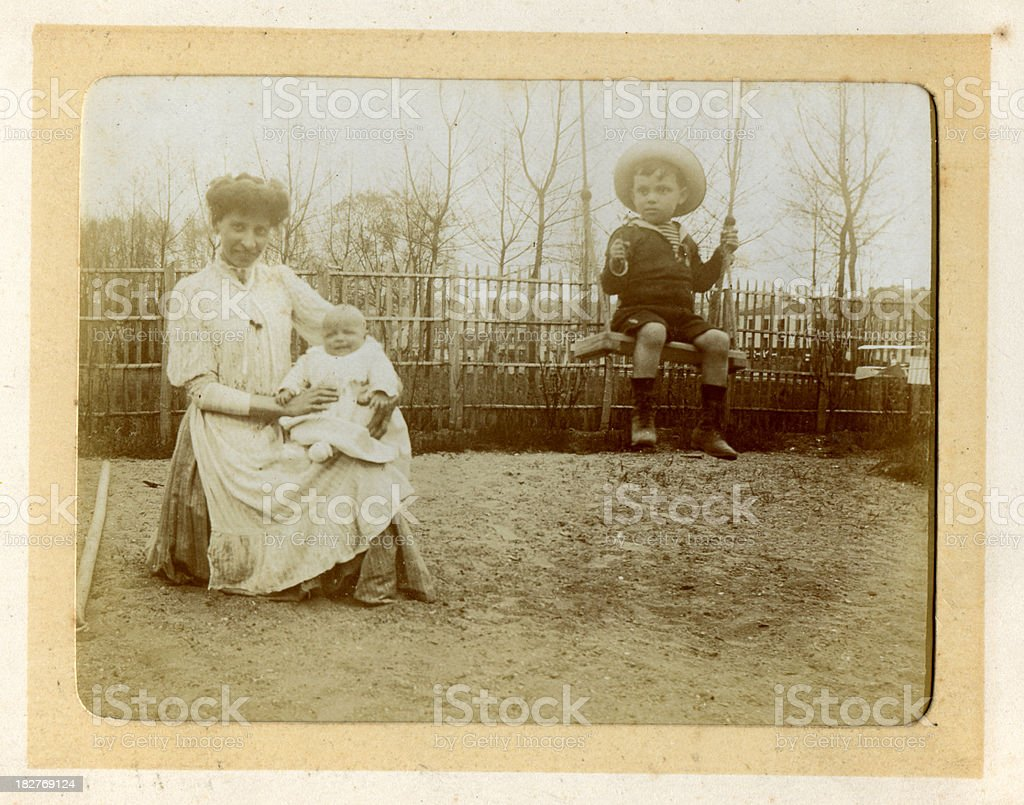 Vintage photograph Edwardian Mother and Child royalty-free stock photo