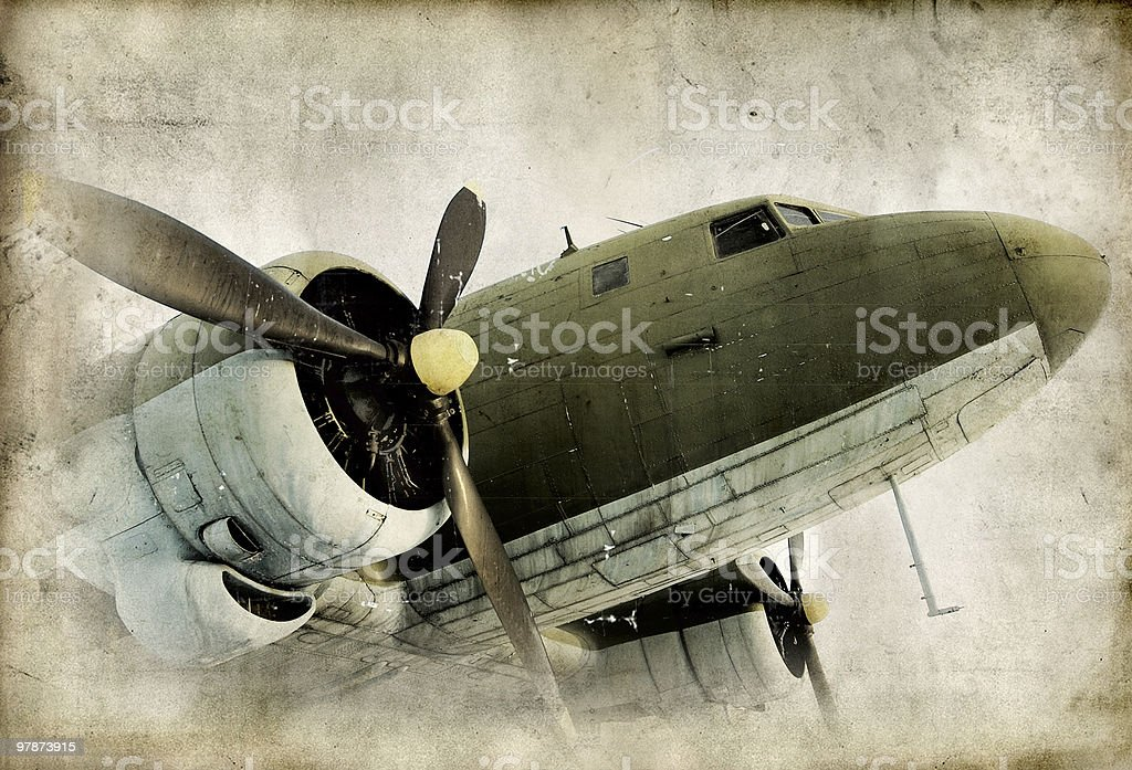 vintage photograph of an old transport propeller airplane royalty-free stock photo