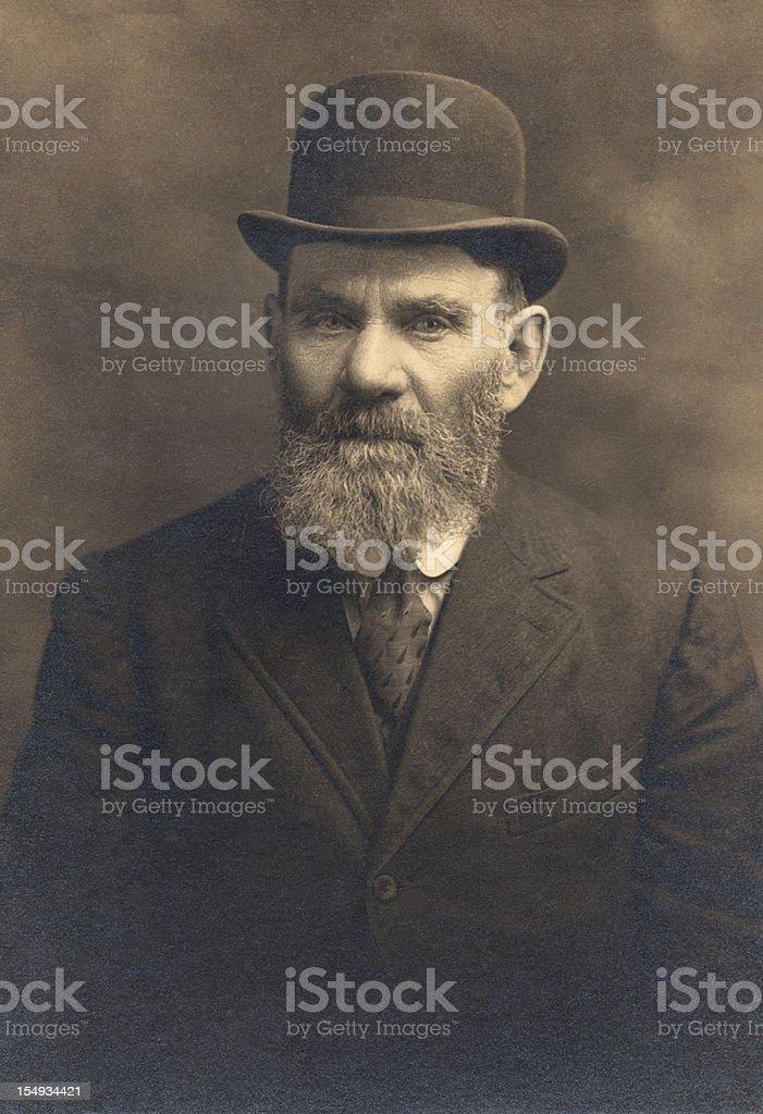 Vintage Photograph of Bearded Man stock photo