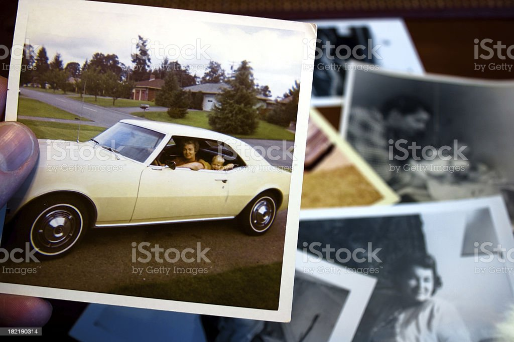 Vintage photograph of mother and child in car stock photo
