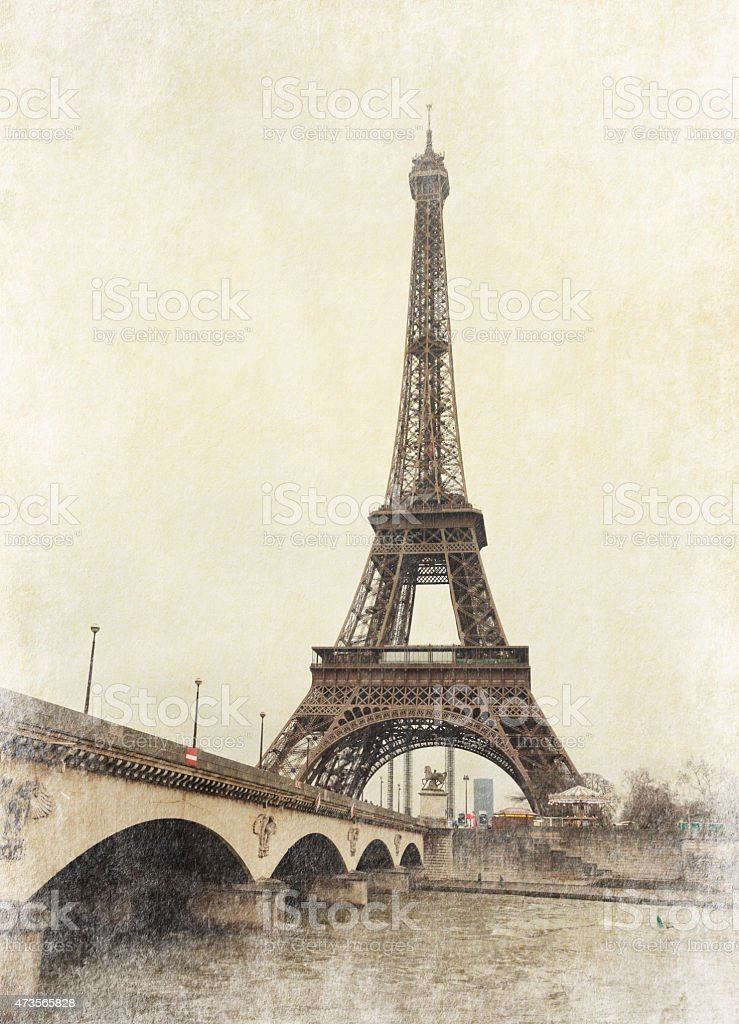 Vintage photograph of the Eiffel Tower in Paris, France  stock photo