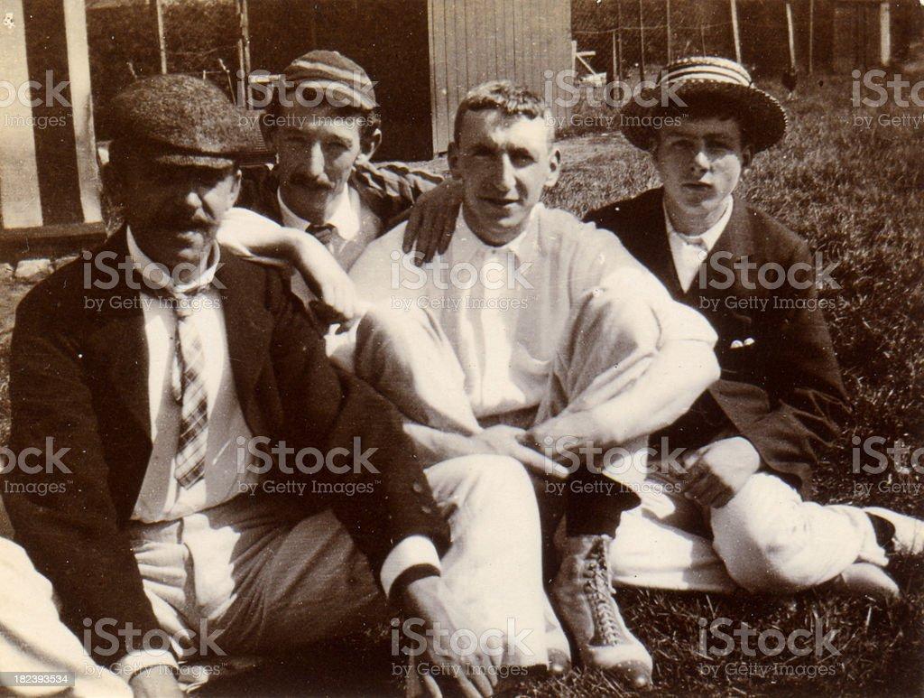 Vintage photograph Victorian Men and boys stock photo