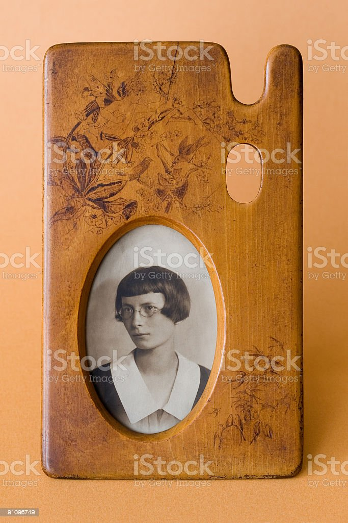 Vintage photography in wood frame with palette shape stock photo