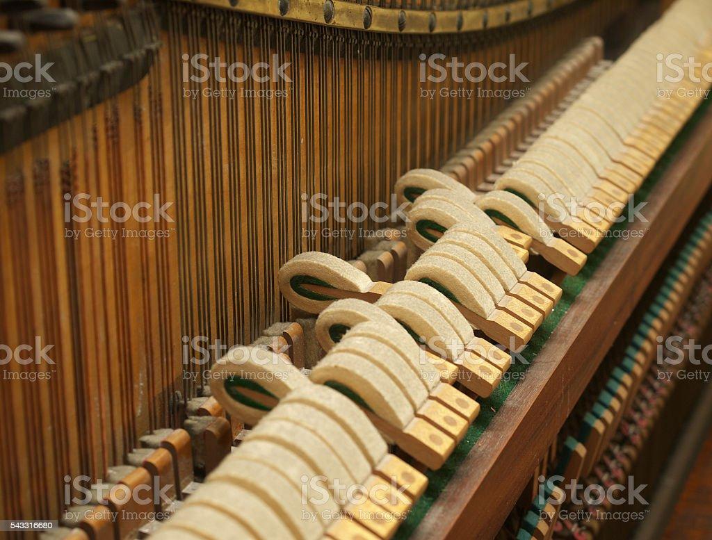 Vintage piano hammer mechanism. stock photo