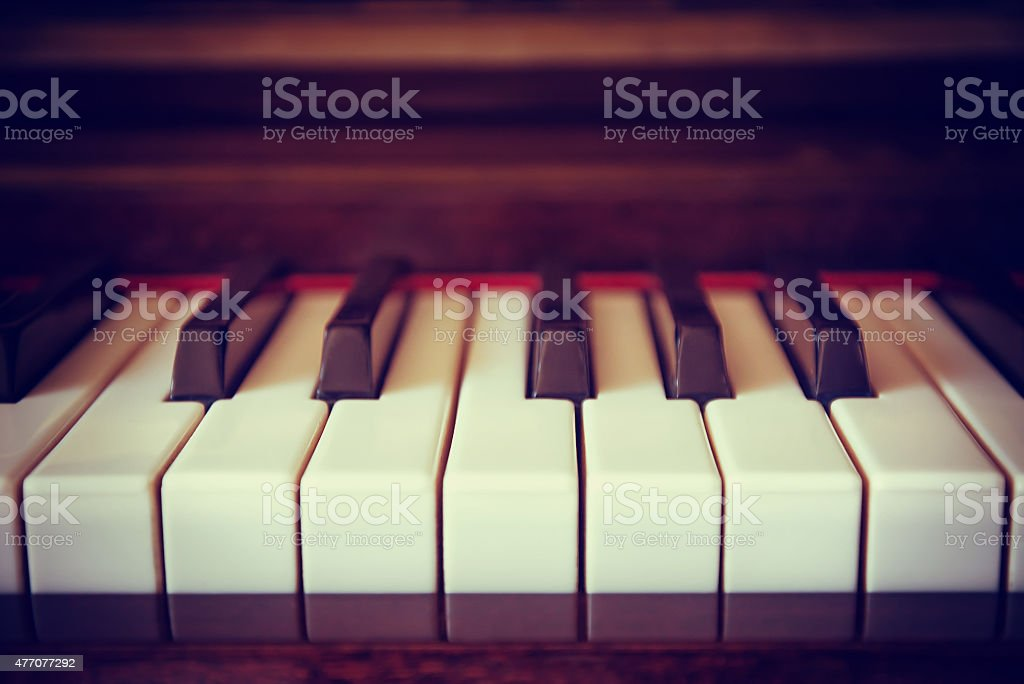 Vintage piano keyboard closeup stock photo