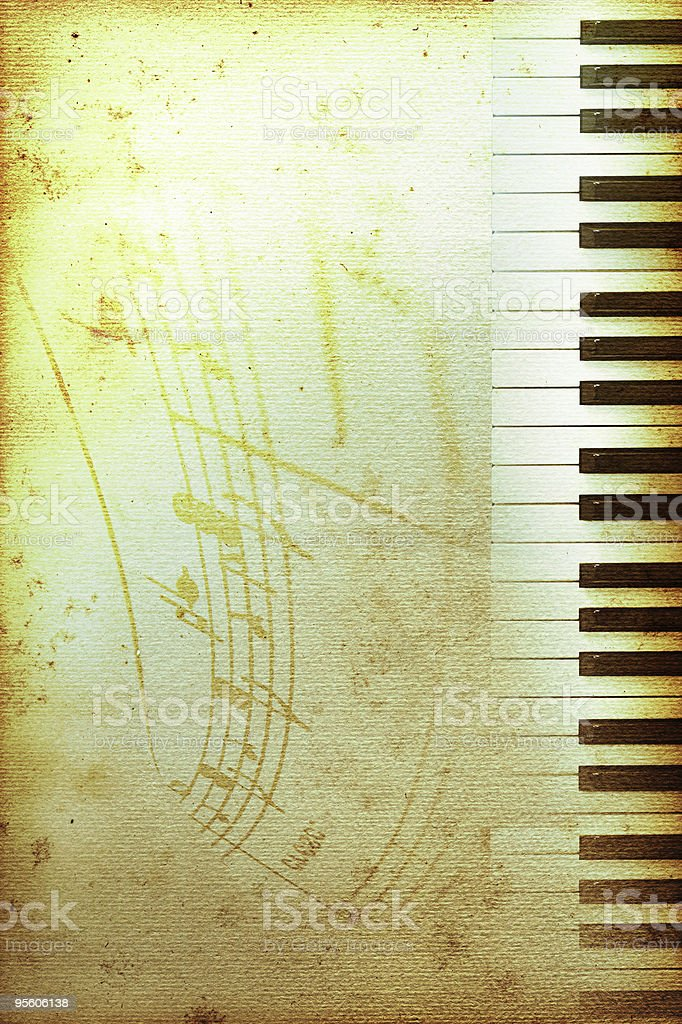 Vintage piano paper with notes royalty-free stock photo