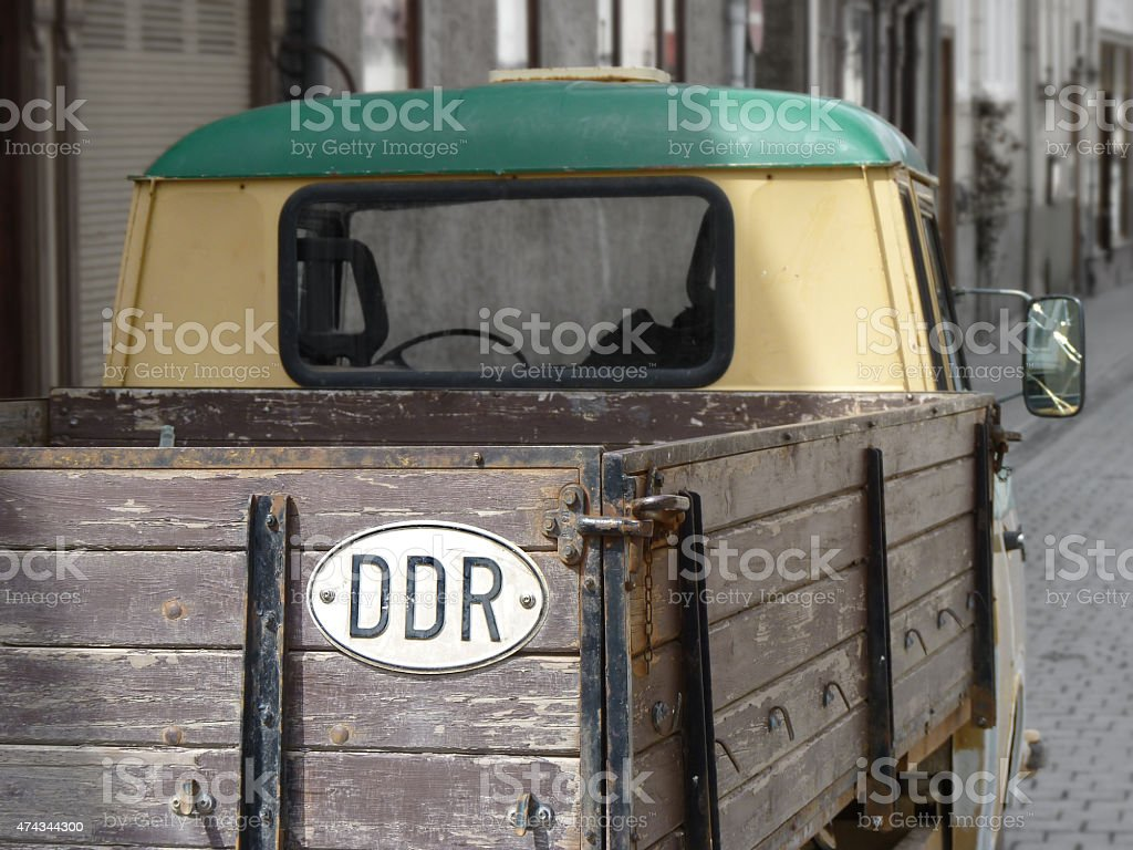 Vintage Pick-up Truck with East German DDR country symbol stock photo