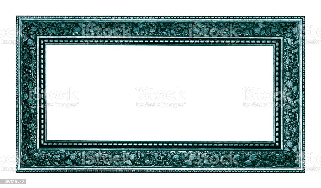 vintage picture and photo frame isolated on white background stock photo