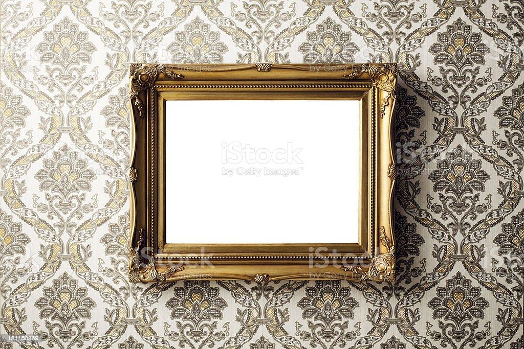 Vintage picture frame - Wallpaper Retro Gold Antique Baroque stock photo