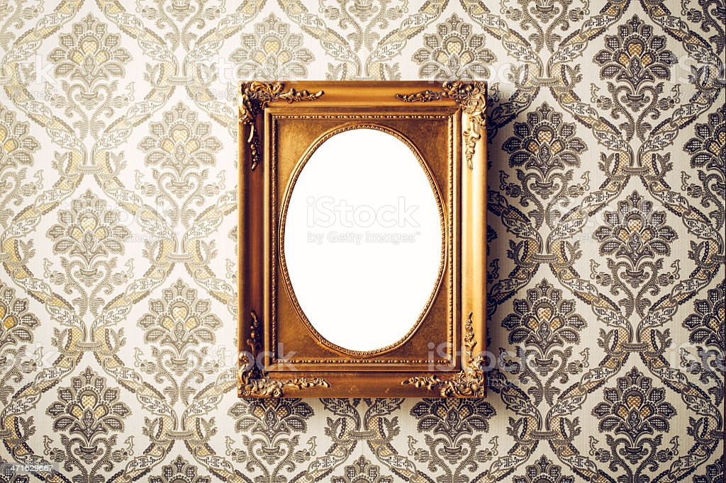 Vintage picture frame - Wallpaper Retro Gold Antique Baroque royalty-free stock photo
