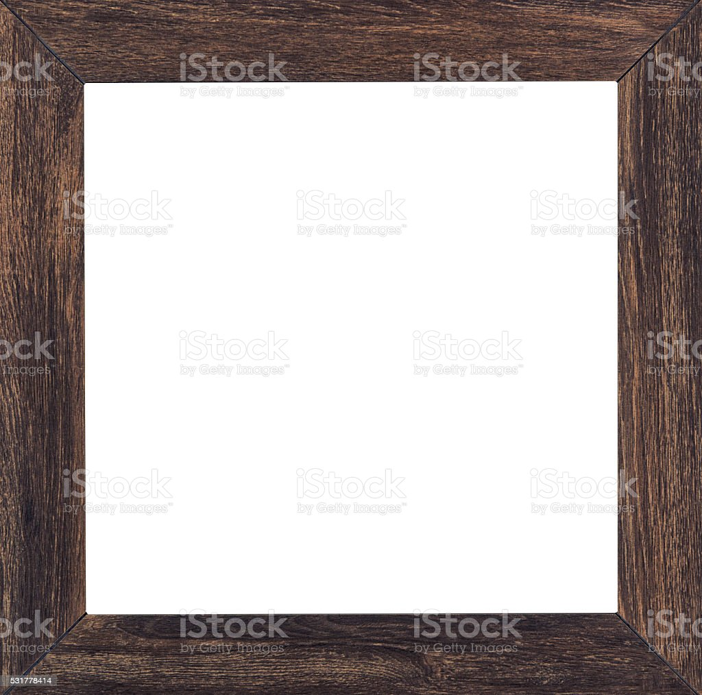 Vintage picture frame, wood plated, white background stock photo