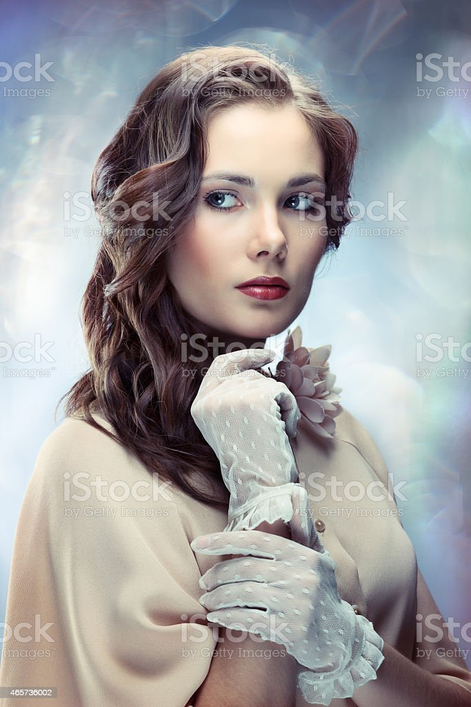 Vintage picture of a glamorous young woman stock photo
