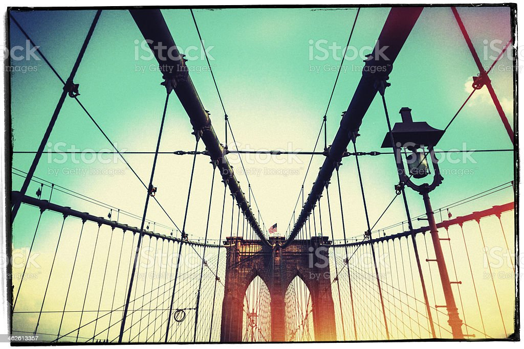 Vintage Picture of Brooklyn Bridge in New York City royalty-free stock photo