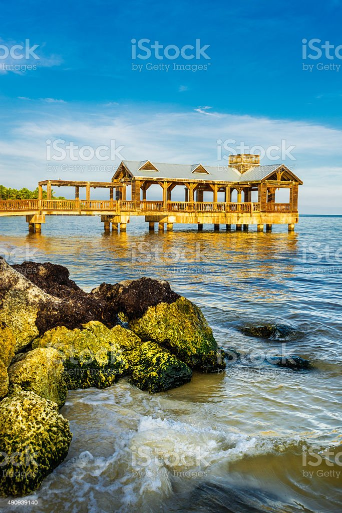 vintage pier in Key West stock photo