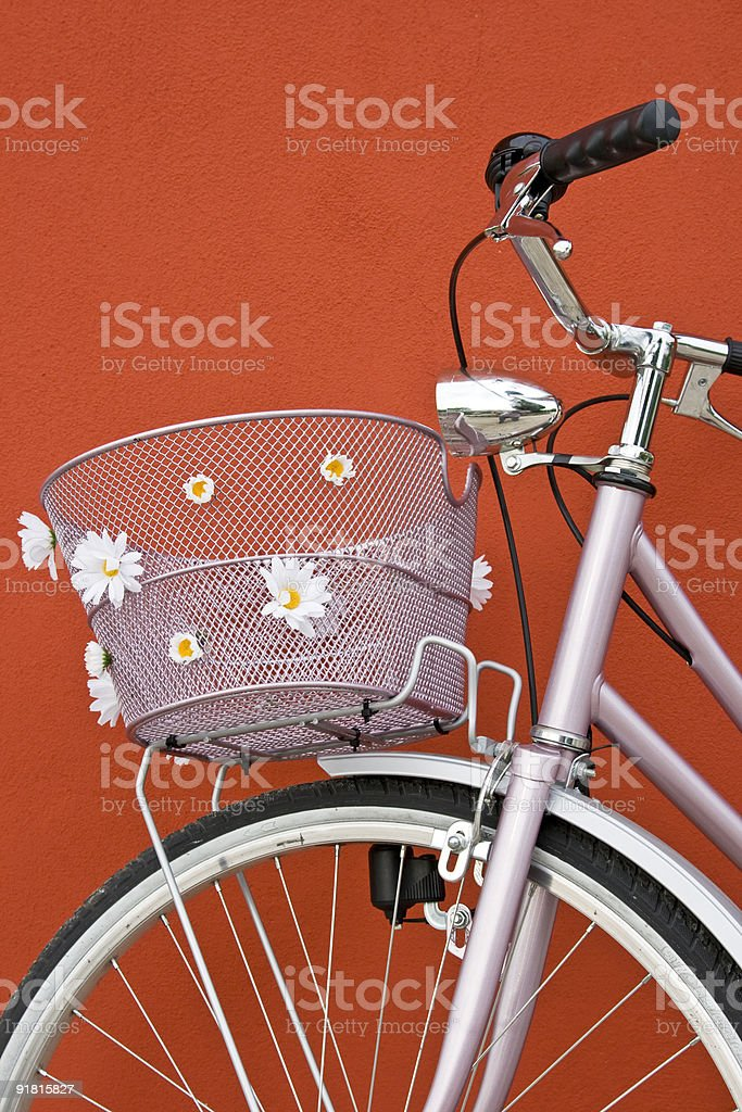 Vintage pink bicycle with basket and daisies royalty-free stock photo