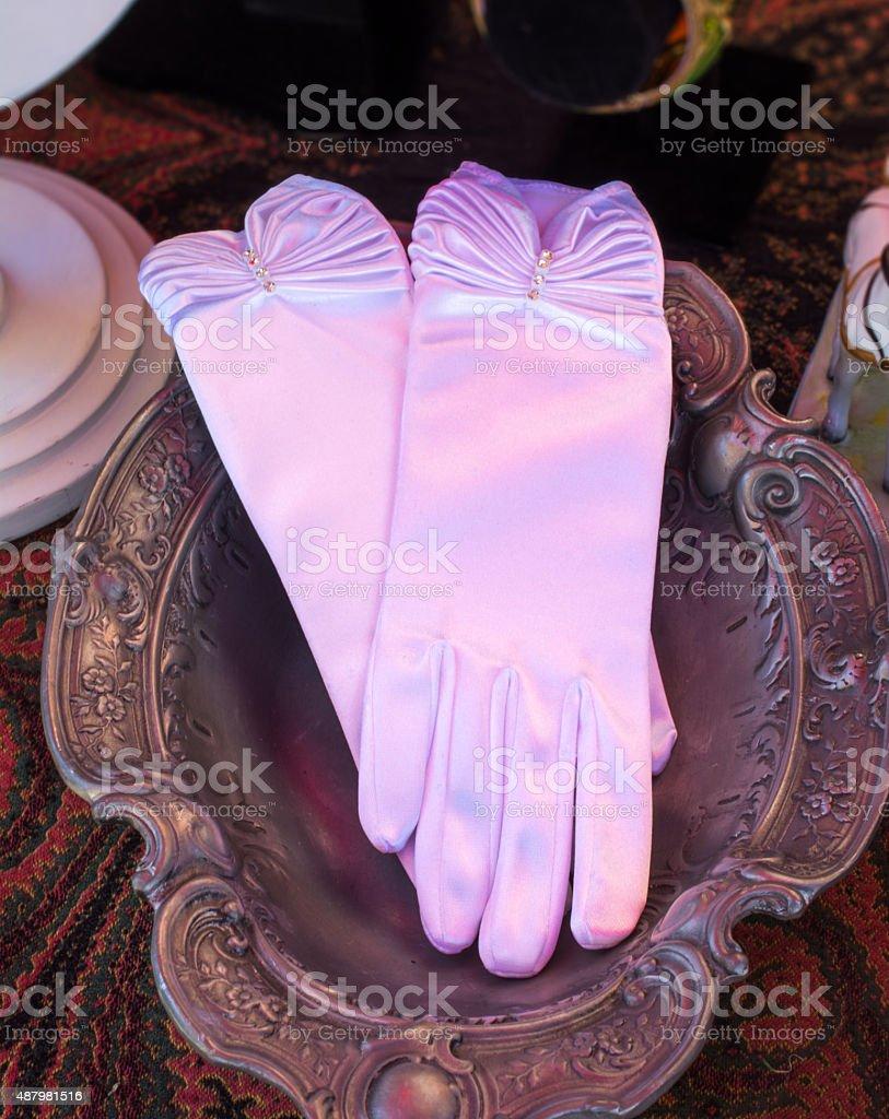 Vintage pink opera gloves stock photo