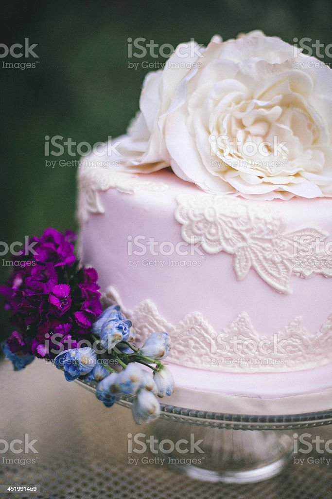 Vintage Pink Wedding Cake stock photo