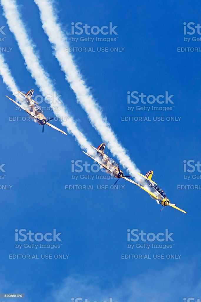 Vintage planes doing demonstrations stock photo