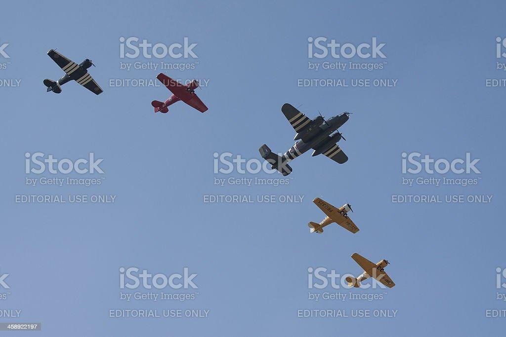 Vintage Planes In Flight stock photo