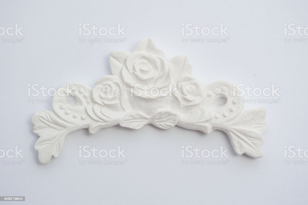 vintage plaster cartouche on the wall stock photo