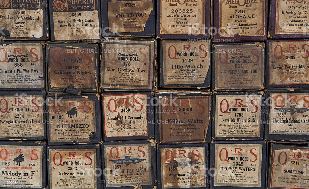 Vintage Player Piano Music Boxes stock photo