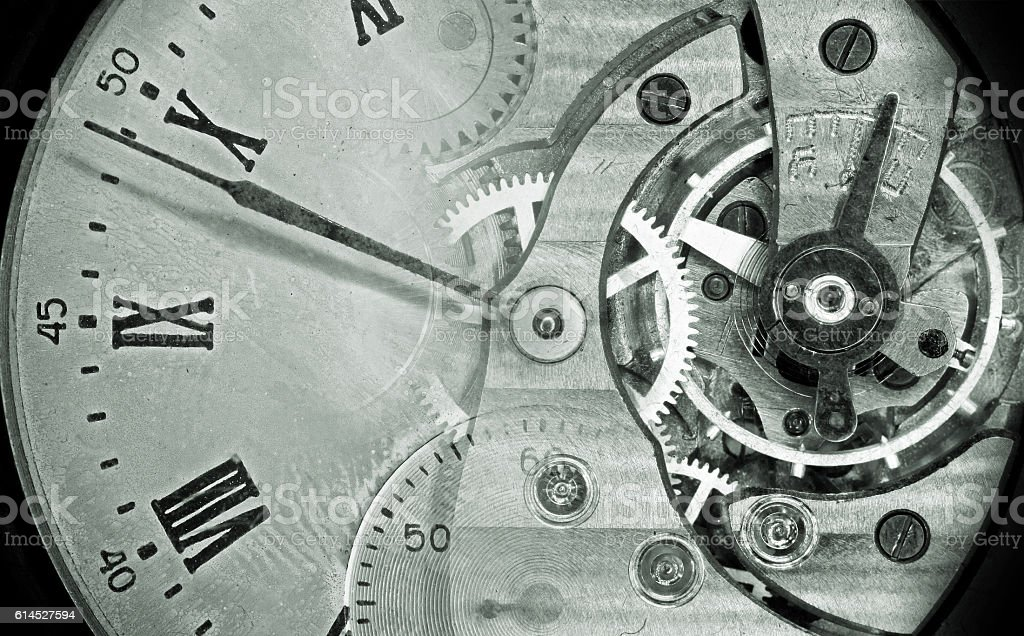 Vintage pocket watch green montage stock photo
