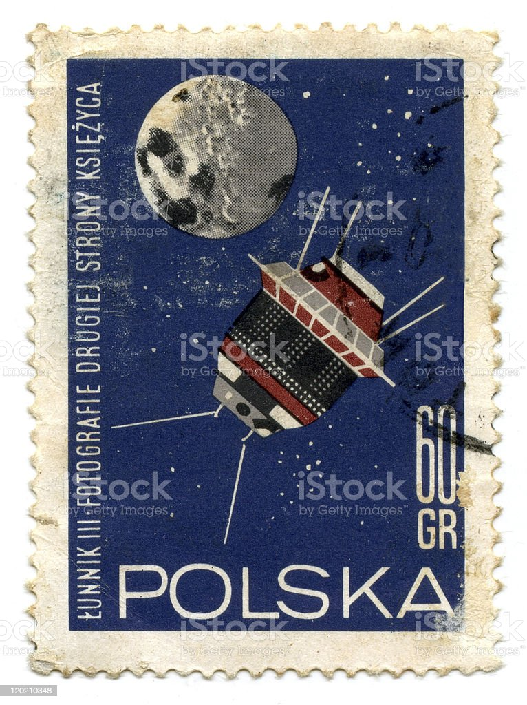 Vintage Poland postage stamp stock photo