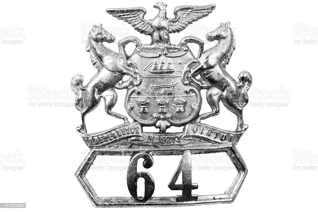 Vintage police badge stock photo