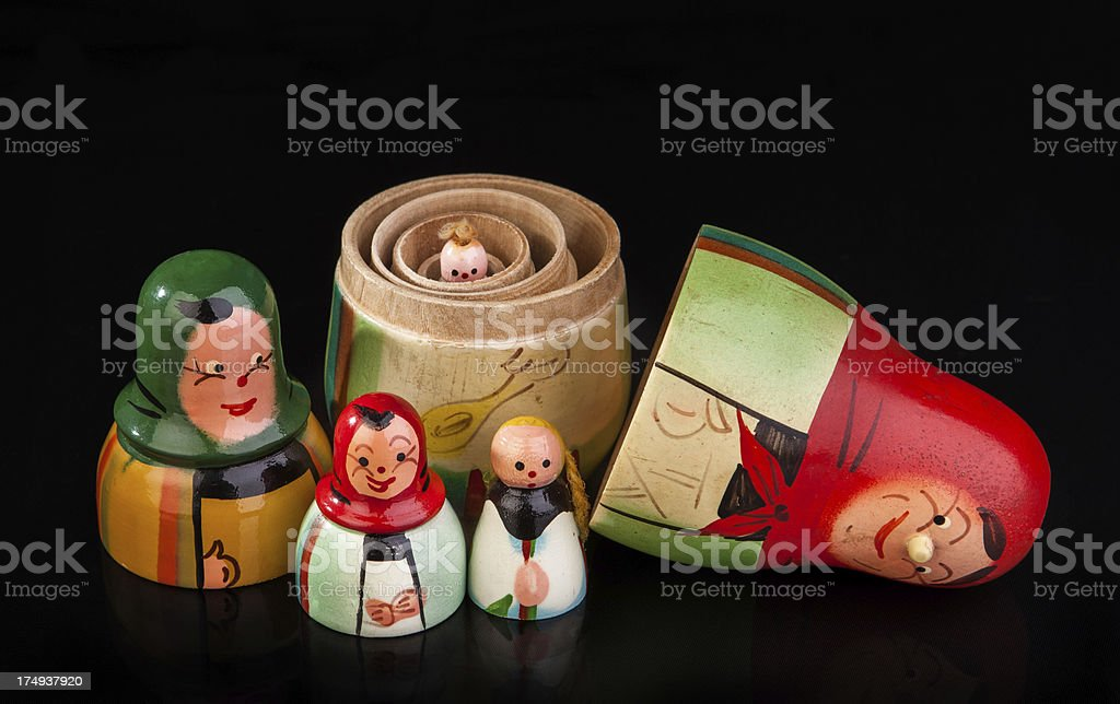 Vintage polish nesting dolls partially nested stock photo