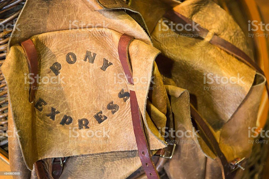 Vintage Pony Express Leather Saddle Bags stock photo