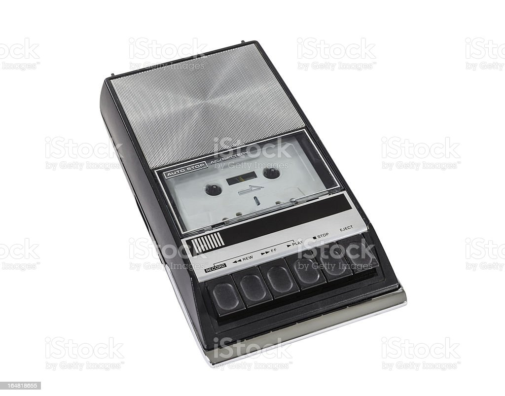 Vintage Portable Cassette Tape Player and Recorder stock photo