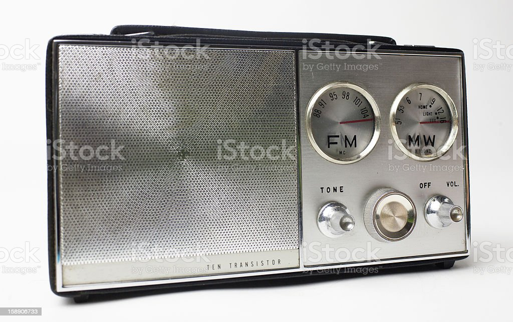 vintage portable silver radio stock photo