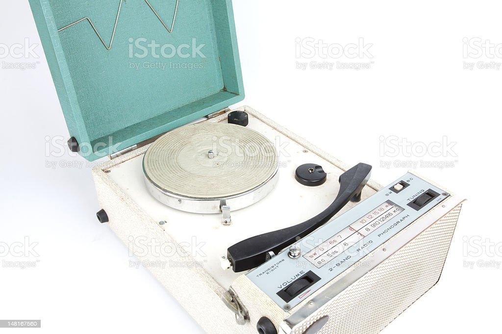 vintage portable turntable stock photo
