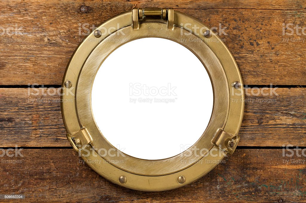 Vintage porthole with clipping path stock photo