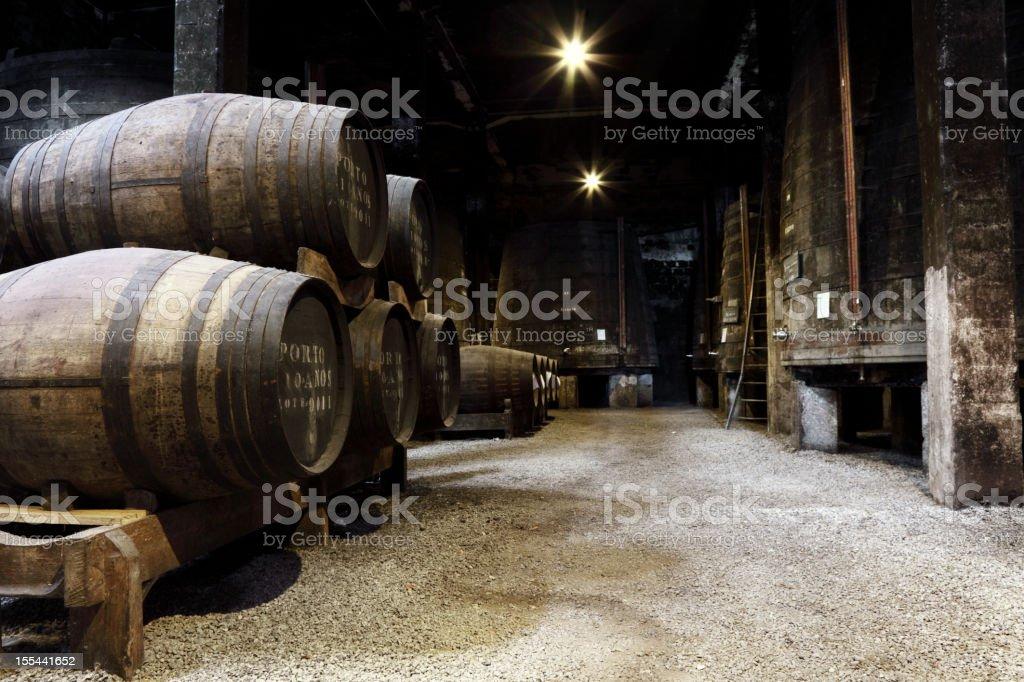 Vintage Porto wine cellar stock photo