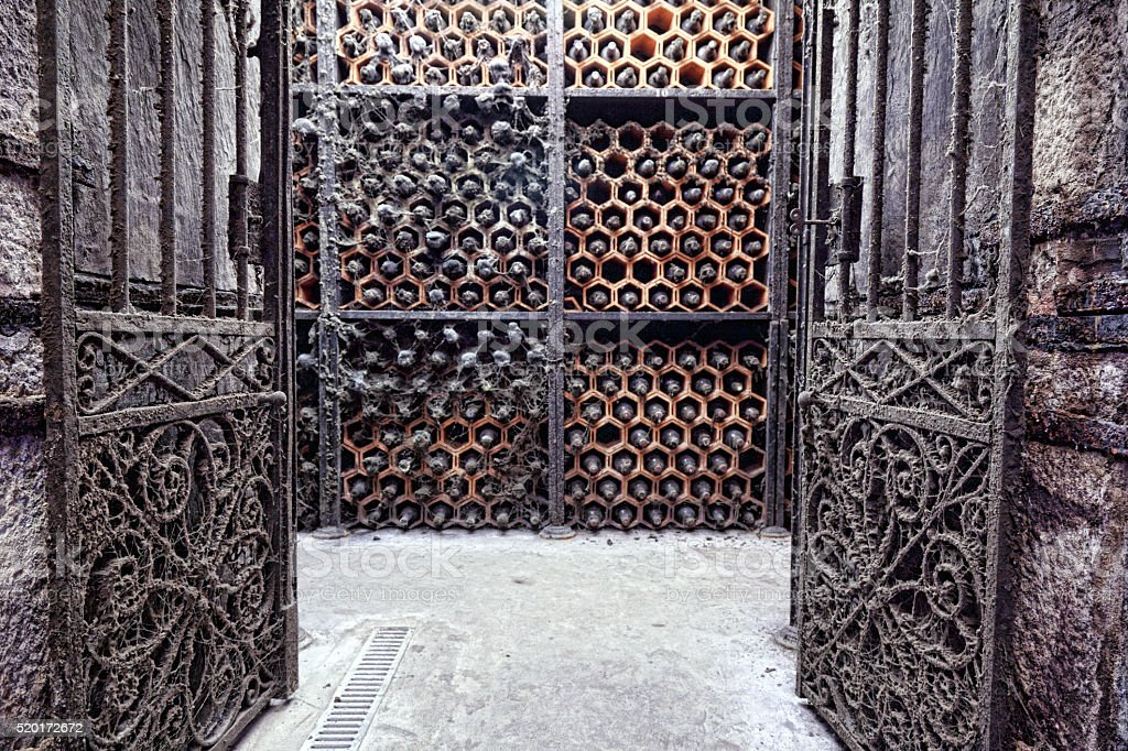 Vintage Porto wine cellar stock photo