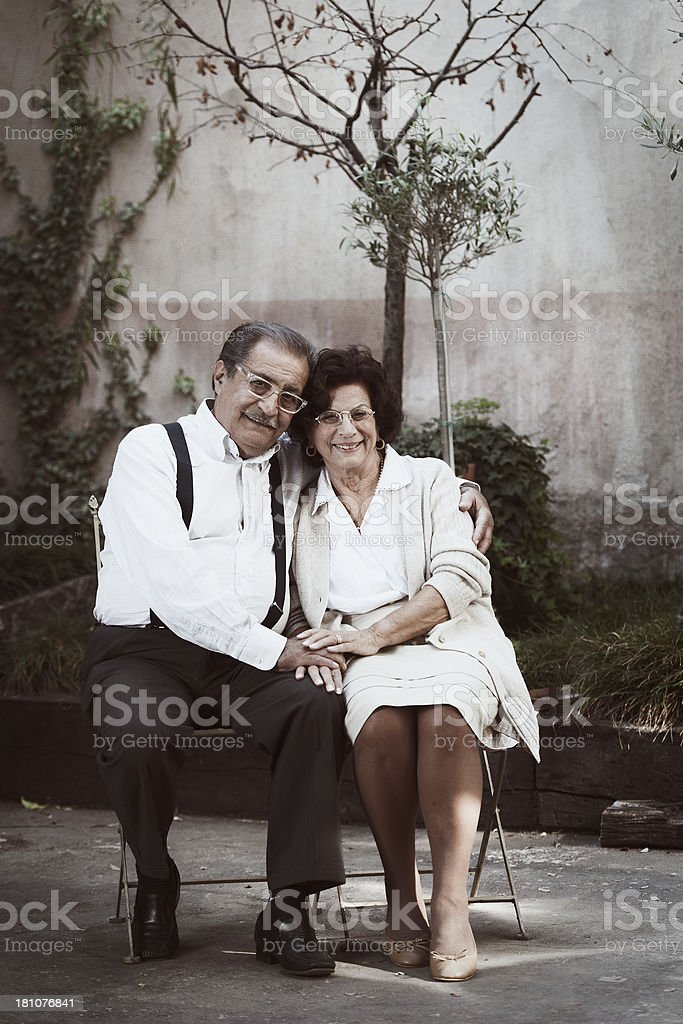 Vintage portrait of a typical elderly Italian couple royalty-free stock photo
