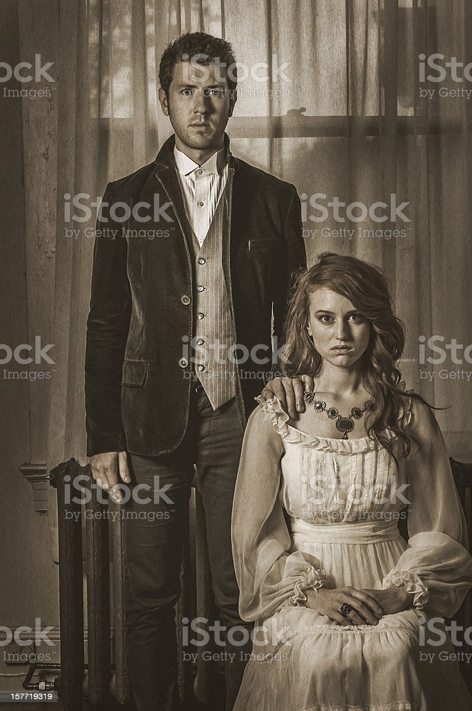 Vintage portrait of a young couple - I stock photo