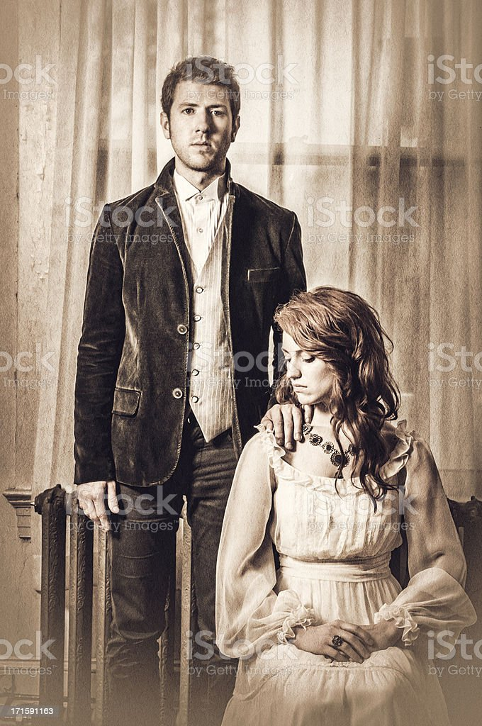Vintage portrait of a young couple - IV stock photo